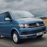 VW Transporter Van in Blue - Driving