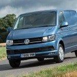 Blue Volkswagen Transporter - front view